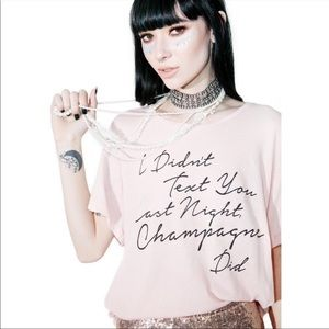 Wildfox Couture Drunk Text Manchester Tee Pink
